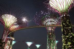 giant illuminated artifical trees at dark sky, singapore, Gardens by the Bay
