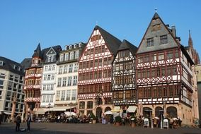 traditional truss buildings on plaza, germany, frankfurt