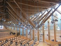 modern interior of parliament building, uk, scotland, edinburgh