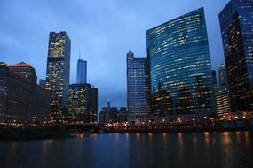 downtown at river, night skyline, usa, illinois, chicago