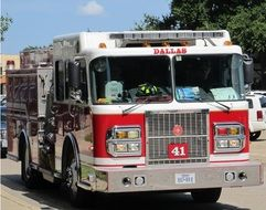 fire engine on street, usa, texas, dallas