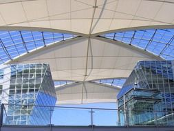 glass and steel roofing of terminal in airport, germany, munich