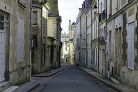empty alley in old city, france, poitiers