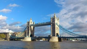 tower bridge view from thames river, uk, london