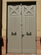 vintage entrance door with wrought iron handles, germany, st leon