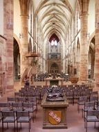gothic interior of Abbey of St. Arnual, germany,Saarbrücken