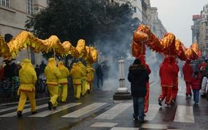 celebration of Chinese New Year on the streets of Paris