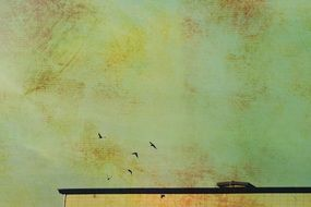 birds in sky above roof, effect of old paper, vintage background