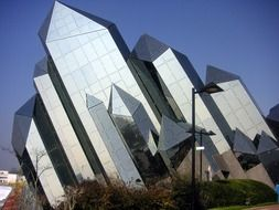 Sharp Glass Futuristic Building in futuroscope, theme park based upon multimedia, france, poitiers