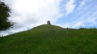 distant view of glastonbury tower