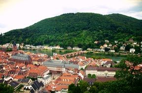top view of town with old bridge across neckar river, germany, heidelberg