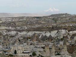 old town among Fairy Chimneys rock formations, turkey, cappadocia, göreme