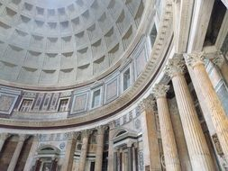 marble and granite interior of pantheon italy, rome