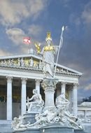 Pallas Athena statue in front of parliament building, austria, vienna