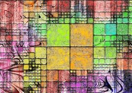 Background view in the form of bright abstract squares