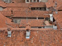 red clay tile roofs of houses in old town