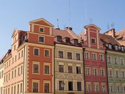 bright painted old houses in line, poland, wroclaw