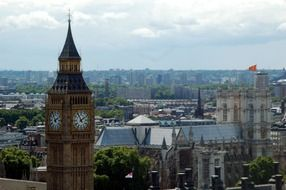 top of big ben tower at cityscape, uk, england, london