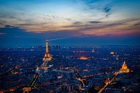 romantic eiffel tower at night