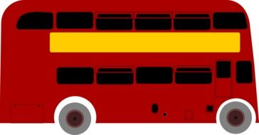 red double-decker bus, london city transport, illustration