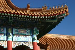 ornate roof of temple in forbidden city, detail, china, beijing