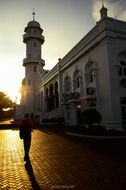 mosque with minaret at sunset, Indonesia, banda aceh
