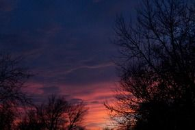 bright sunset colors in sky, usa, oklahoma, midwest city