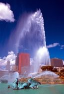 Buckingham Fountain at high-rise buildings, usa, illinois, chicago