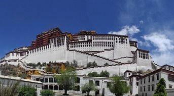 gorgeous potala palace on mountain at sky, china, tibet