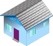 blue house with grey tile roof, illustration