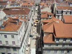 top view of pedestrian street in old city, portugal, lisbon