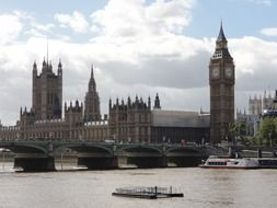 big ben tower and parliament building at river, uk, england, london