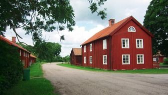 red houses on roadside in village at summer, sweden