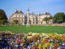 colorful flower bed in jardin du luxembourg, france, paris