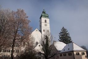 old church in town at winter