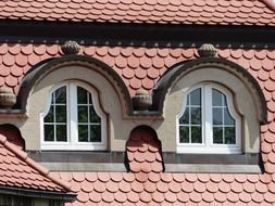 Roof with bay windows on it