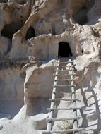 ladder to cliff dwelling, usa, new mexico, bandelier national monument