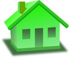 green small house, icon