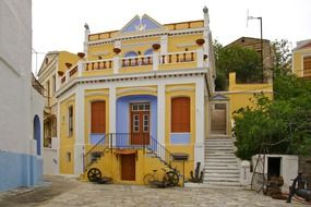 picturesque facade of Maritime Museum, greece, symi