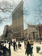 High flat iron building in centre of New York city