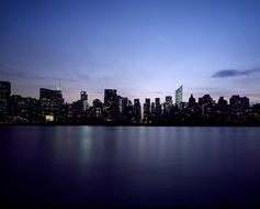 Dusk skyline of new york city