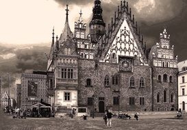 medieval town hall on city\'s Market Square, poland, wroclaw
