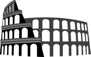 exterior of colosseum, greyscale illustration
