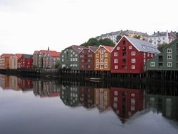 norway bright buildings river Reflection