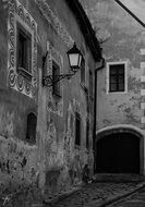 Black and white image of the historic streets of Bratislava