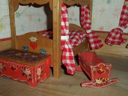 rustic furniture of bedroom in dolls house