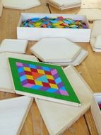 Wooden building blocks for playing rainbow colors