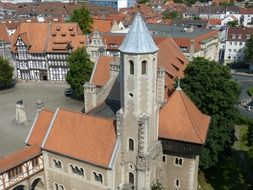 top view of medieval Dankwarderode castle in old town, germany, braunschweig