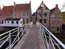 old pedestrian bridge in town, netherlands, appingedam
