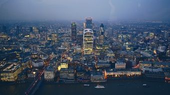 downtown in dusk, panoramic view from the shard, uk, england, london